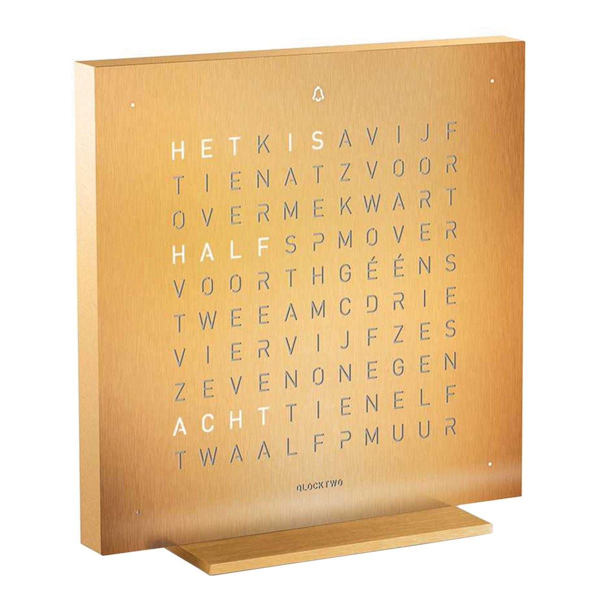 Qlocktwo Touch Metaal Tafelklok Nederlands - Biegert & Funk - Golden Legend