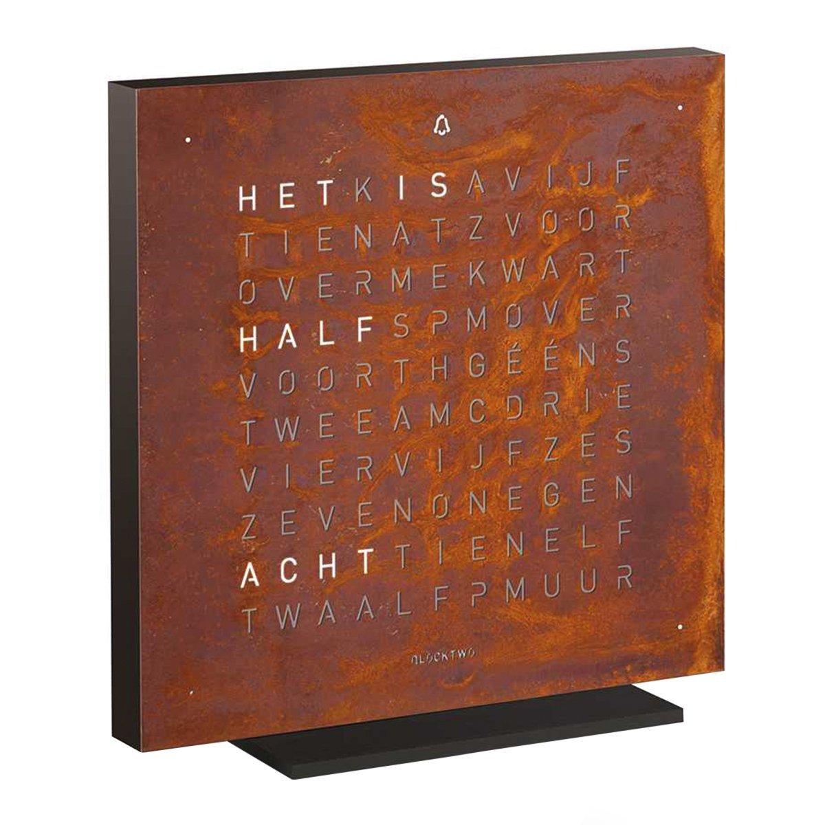 Qlocktwo Touch Metaal Tafelklok Nederlands - Biegert & Funk - Rust