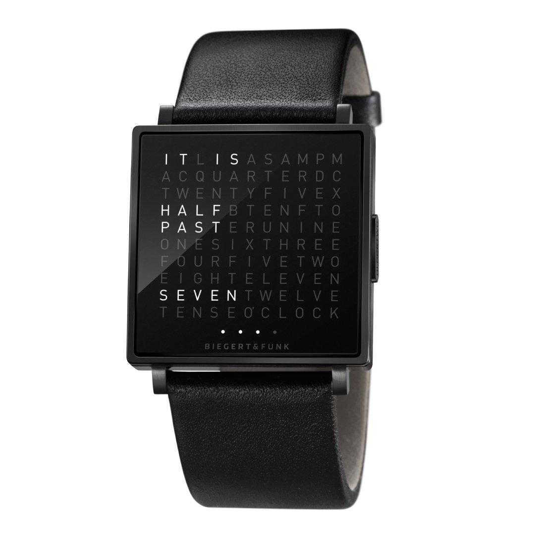 Biegert & Funk Qlocktwo W Horloge, Black Edition Kalfsleder