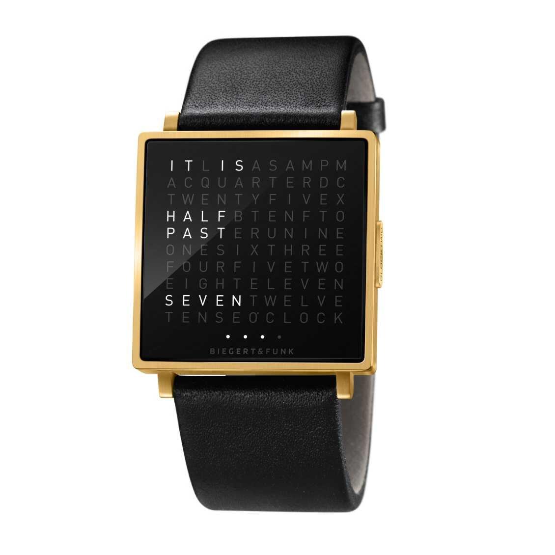 Biegert & Funk Qlocktwo W Horloge Gold EN - Maat S
