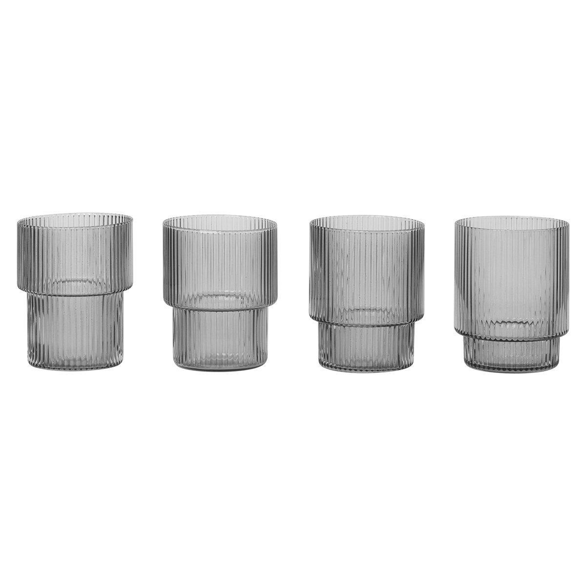 Ferm Living Ripple Glas - Transparant & Grijs Gerookt