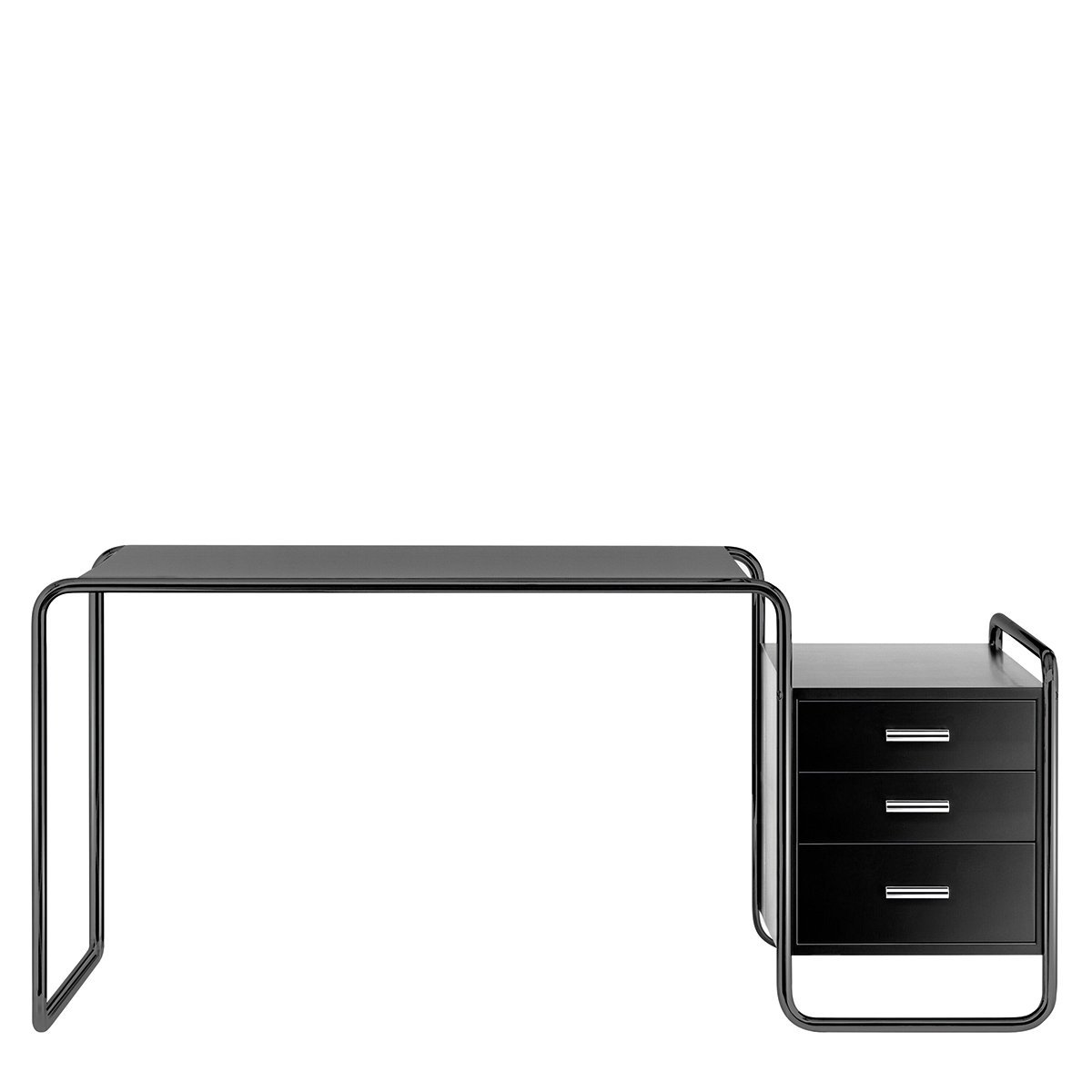 Thonet S285/1 Bureau - Zwart frame / Zwart gebeitst essenhout