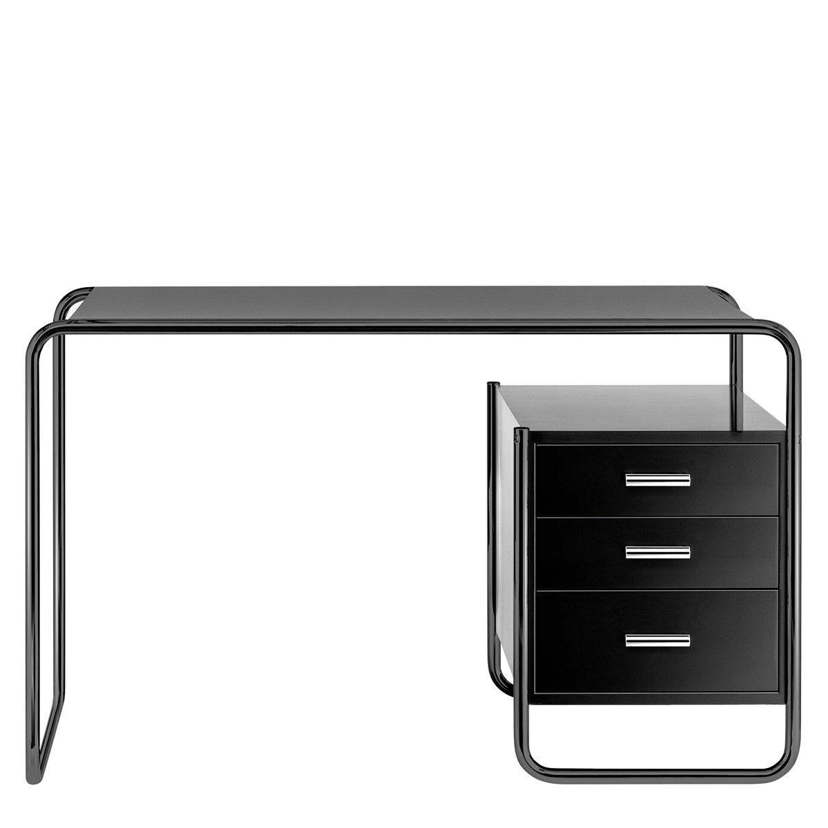 Thonet S285/2 Bureau - Zwart frame / Zwart gebeitst essenhout