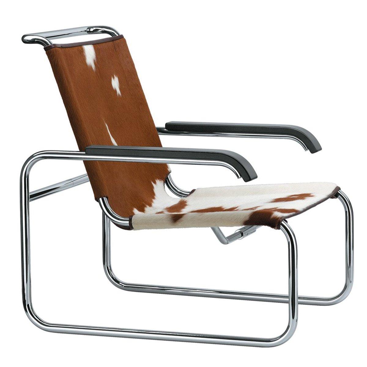 Thonet S35 Loungestoel - Chroom - Koeienhuid - Zwart gebeitst beuken