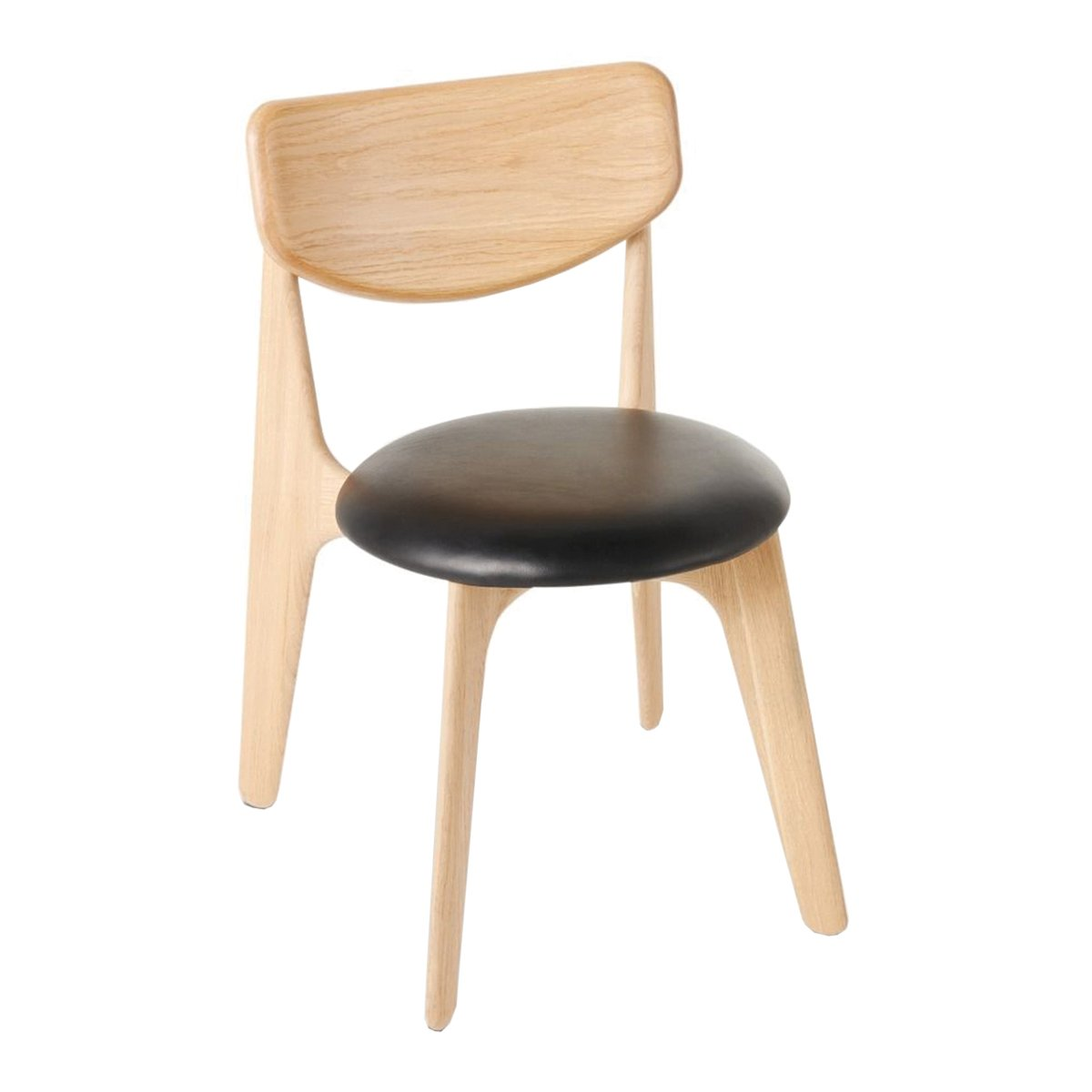 Slab Chair Naturel Eiken - Lederen Zitting - Tom Dixon