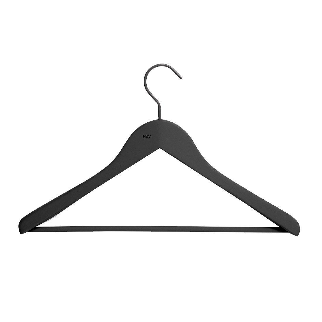 HAY Soft Coat Wide Hanger Kleerhanger Zwart set van 4