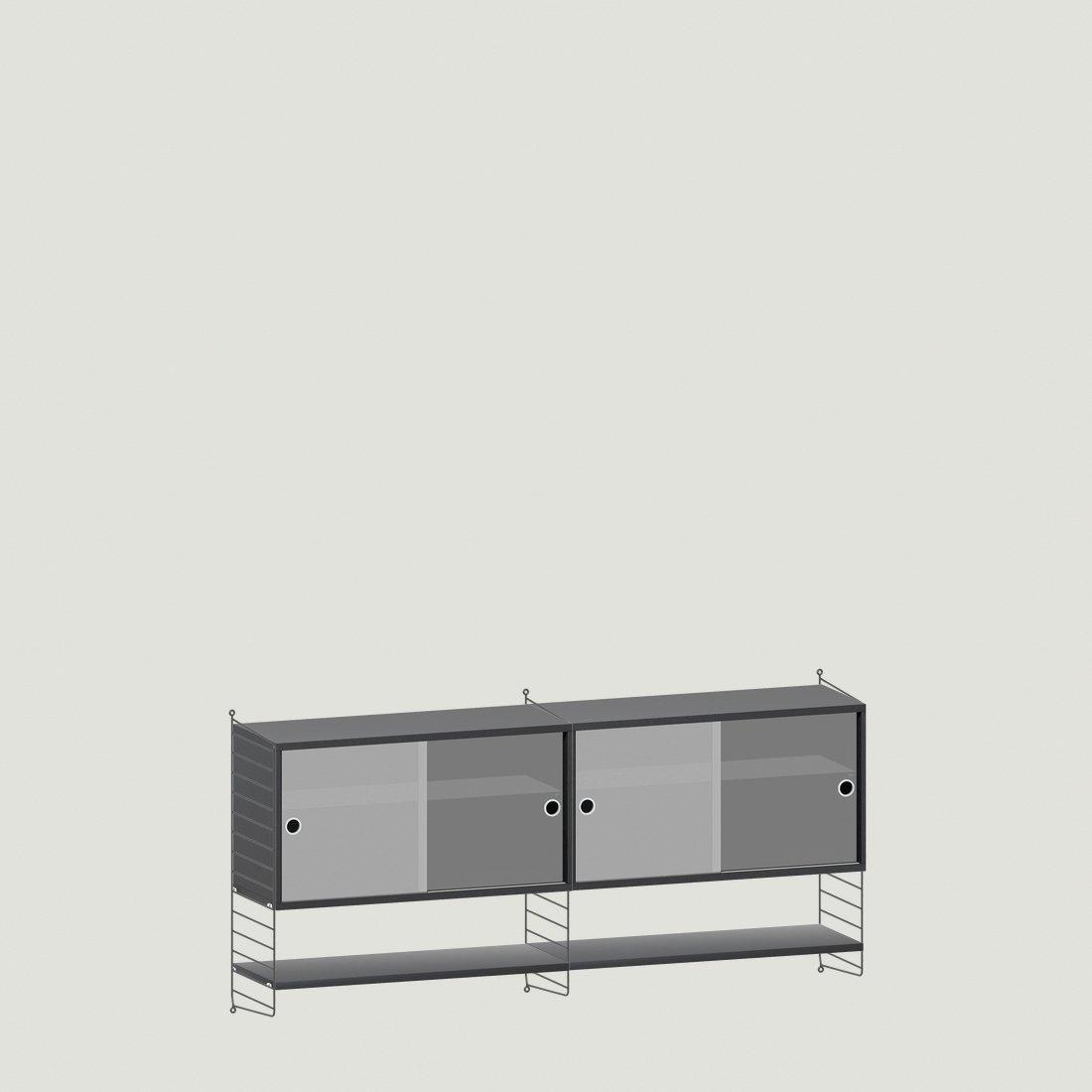 String Furniture Wandkast Dubbel Zwart