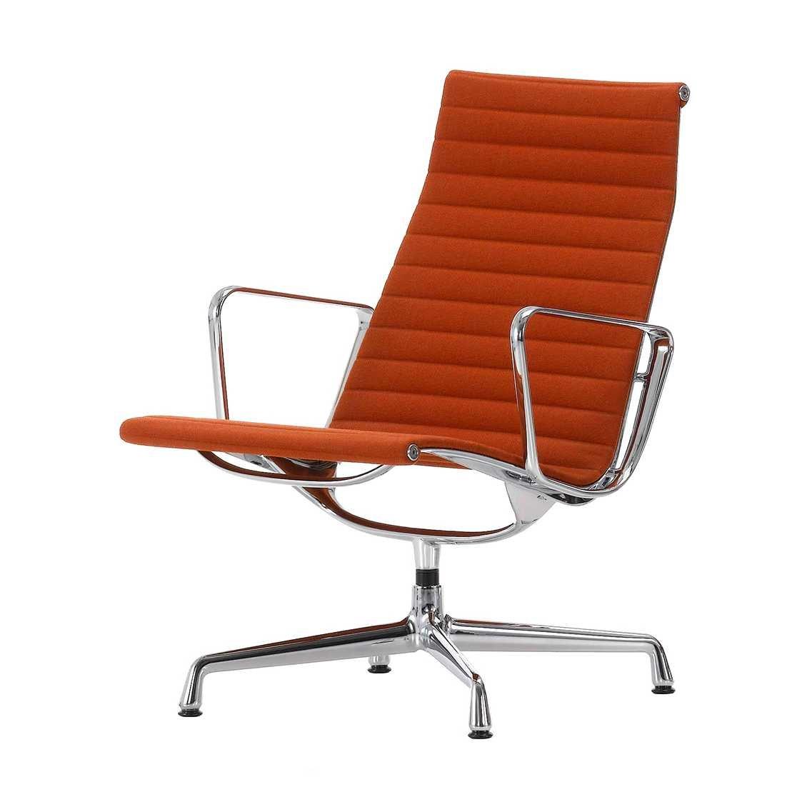 Vitra Aluminium Chair EA 115 Fauteuil - Hopsack Rood/Cognac